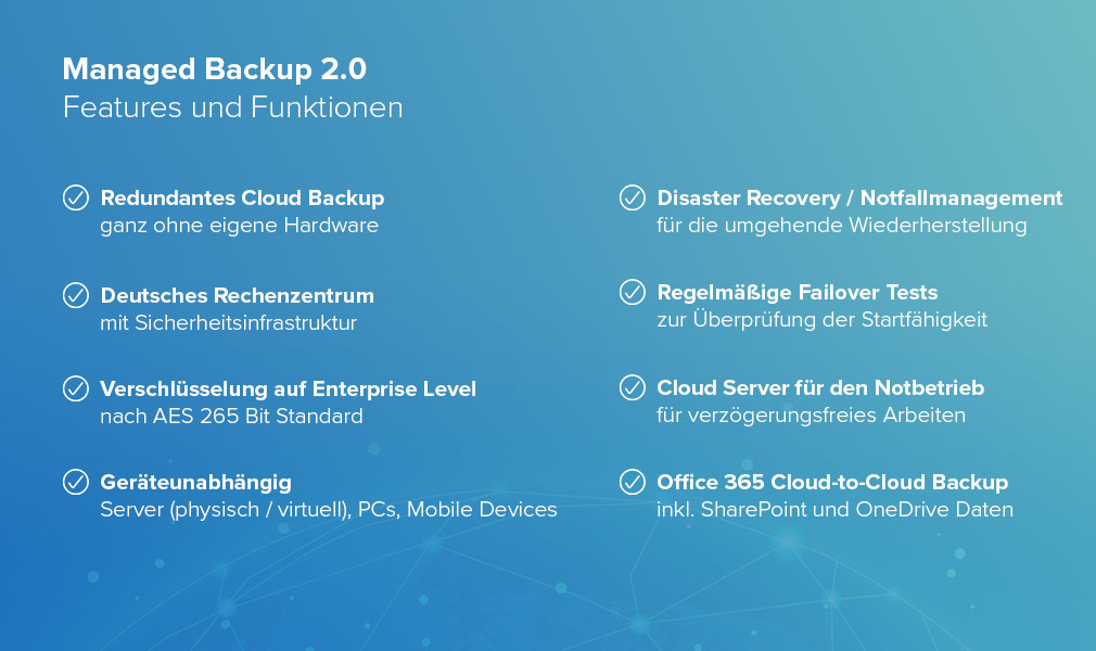 Managed Backup - Funktionen des Cloud Backup